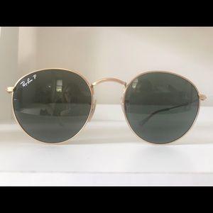 RayBan Round Metal Polarized Sunglasses